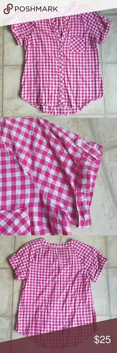 """Pink and white checked picnic shirt This shirt has short sleeves that fold. A v-neck that buttons all the way down. Has a small left pocket.  Worn once. Washed once on delicate. Hang dried. Purchased from modcloth. Made of 100% cotton. 24"""" from shoulder to hem. 18"""" from pit to pit. Fits like any button down shirt. fun2fun Tops"""