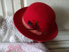 LANCASTER WOOL  HAT Red with a Feather and by Daysgonebytreasures, $36.00