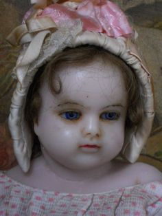 ~~~ Pretty Childlike All-Original Antique English Poured Wax Doll ~~~ from whendreamscometrue on Ruby Lane