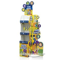 3 tier Cardboard display for toothbrush_cardboard displays,display stand,display rack,floor display,corrugated display,cardboard retail display,corrugated floor displays