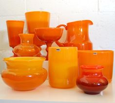 Vintage Swedish Orange Art Glass Pitcher by Erik Höglund, Boda Orange Kitchen Decor, Orange Art, Oranges And Lemons, Orange You Glad, Scandinavian Art, Glass Pitchers, Murano, Antique Glass, Glass Design