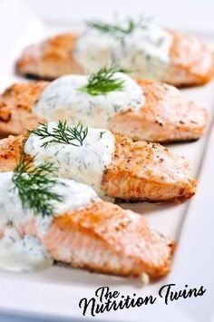 Lemon Dill Salmon   Rich, Creamy   Meaty & Satisfying   Delicious Way to Get Omegas   Healthy Meal   Only 140 Calories   For MORE RECIPES, fitness & nutrition tips please SIGN UP for our FREE NEWSLETTER www.NutritionTwins.com