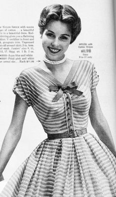 Model wearing a striped dress with a bow neck, 1950 #vintage #fashion