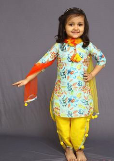 Buy White Button Girl's Banglori Silk Sky Blue Floral Print PartyWear ReadyMade New Kids Salwar Suit Online Kids Dress Wear, Kids Gown, Dresses Kids Girl, Girl Outfits, Fancy Dress, Frock Design, Baby Dress Design, Kids Salwar Suit, Kids Salwar Kameez