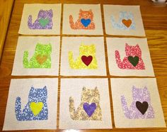 "Set of 9 Vintage Type 1930's Fabric Kitty Cats 6"" x 6""  Applique Quilt Blocks"