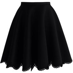 Chicwish Petal Airy Skater Skirt in Black ($47) ❤ liked on Polyvore featuring skirts, bottoms, saias, black, flared skirt, circle skirt, skater skirt, petal skirt and cut out skirt