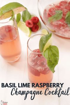 Basil Lime Raspberry Champagne Cocktail Champagne Toast, Champagne Cocktail, Cocktail Drinks, Cocktails, Fruity Drinks, Alcoholic Drinks, Beverages, Basil Cocktail, Raspberry Recipes