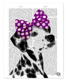 Love this Dalmatian & Purple Bow on Head Dictionary Print on #zulily! #zulilyfinds