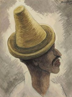 Artwork by Diego Rivera, Hombre con sombrero, perfil, Made of watercolor and charcoal on paper