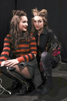 Gigi and Bella Hadid backstage at the Anna Sui Fashion Show during New York Fashion Week