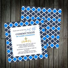 Moroccon Pattern Communion Invitations  First by InvitationShop