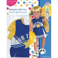 Springfield Collection Cheerleader Outfit Blue & White W/Yellow Poms