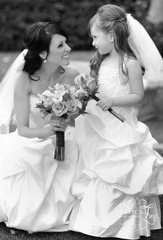 Beautiful picture of the bride and daughter....who ever Marrys me also Marrys my daughter so she'll be a mini bride! Love!