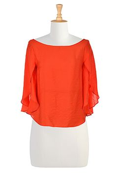 I <3 this Woven split sleeve blouse from eShakti