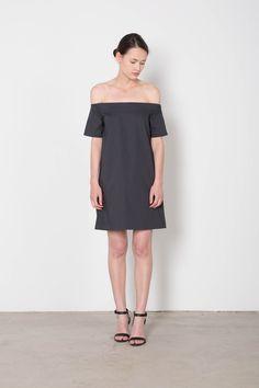 Navy Off The Shoulder Summer Mini Dress   Front 2