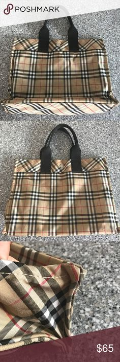 Authentic Burberry Tote Please note, price is FIRM on this item before you submit offers. Only discount will be with combined purchases. Used and authentic. Very cute Burberry Tote. There is a small cigarette hole from where a passer by leaned into my bag, I don't smoke ever. Has no smell of smoke. There is some dirt and water marks on bag that are masked because of the plaid. Corners have some scuffs. Please see pix. Bag is still a awesome and a great buy. I never trade. Burberry Bags