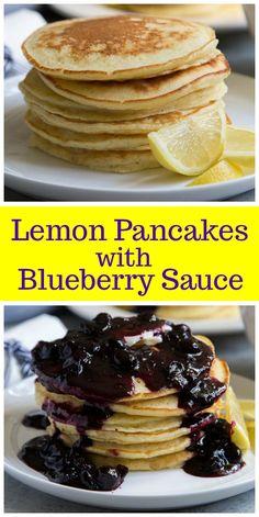 Lemon Pancakes with Blueberry Sauce recipe from RecipeGirl.com #lemon #pancakes #blueberry #breakfast #recipe via @recipegirl