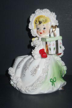 NAPCO CHRISTMAS GIRL.Have this planter girl Christmas Tunes, Christmas Past, Modern Christmas, Retro Christmas, Christmas Items, Christmas Angels, Holiday Fun, Christmas Diy, Christmas Classics