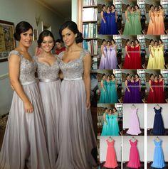 Elegant Cap Sleeve Chiffon/Lace bridal Bridesmaid Evening Dress Size 6+++++++16