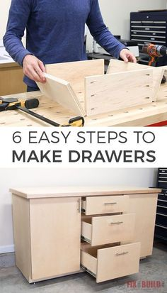 Learn how to make drawers for your next project in 6 easy steps! These drawers are quick to make and very strong and you don' even need table saw to make them. Full video tutorial included…More Easy Woodworking Projects, Popular Woodworking, Woodworking Furniture, Diy Wood Projects, Furniture Projects, Furniture Plans, Woodworking Shop, Woodworking Plans, Diy Furniture