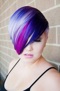 pixie haircut with bangs pink purple blue ombre rainbow hair colorful hair 5478