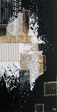 ANCRE pour mon âme DEMANDAIS est une peinture abstraite créée comme une méditation sur le processus créatif. Cest une peinture très texturés mixte dans lequel jai joué avec des morceaux assortis de thé teinté de filtres à thé, délicats papiers trouvés, textures acryliques et pages de livres anciens.    taille : 12 x 24 x 3/4   médium : acrylique, papier de soie, pages de livre, papier peint, filtres à thé, dentelle vintage, toile  palette : noir & blanc, ambre  inspiration : le proce...
