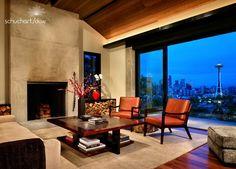 View. Fireplace. Urban, modern, clean and yet still warm.  Schuchart Dow contractors.