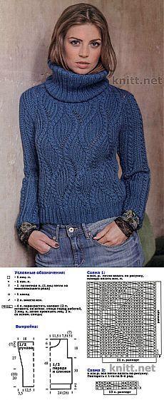 Пуловер синего цвета спицами.