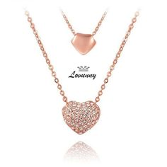 Premium Rose Gold Necklace with Double Hearts Pendants Small Rose, Austrian Crystal, Rose Gold Plates, Pendant Jewelry, Gold Necklace, Crystals, Gold Pendant Necklace, Crystal