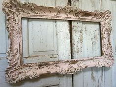 Pink and gold ornate frame shabby cottage chic hand painted distressed large vintage wall hanging home decor anita spero design