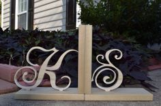 DIY Wooden Letters Bookends - Price is for a pair of bookends - Paint it yourself on Etsy, $26.00