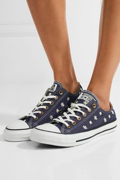 Converse - Chuck Taylor All Star Embroidered Denim Sneakers - Dark denim - UK Denim And Lace, Dark Denim, Blue Denim, Denim Sneakers, High Top Sneakers, Converse Chuck Taylor All Star, Chuck Taylor Sneakers, Topshop Unique, Summer Shoes