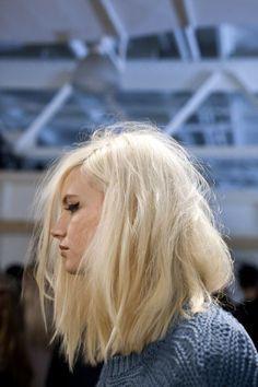 bleach blonde mid-length bob #fall #hair