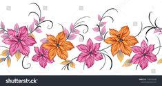 Turkish Art, Floral Border, Border Design, Portfolio, Flower Art, Art Flowers, Textile Design, Illustration, Digital Prints