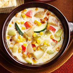 Three Sisters Corn-and-Chili Chowder  -- spicy peppers, potatoes, corn, zucchini, lima beans and a creamy soup base.  Great fall recipe.