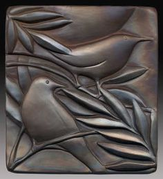 "Warblers in Willow  6.5"" x 7"" - $155  Earth Wood and Fire"