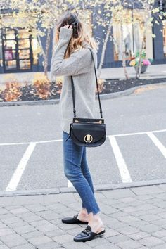 fall outfit ideas ft. Gucci Leather Slippers