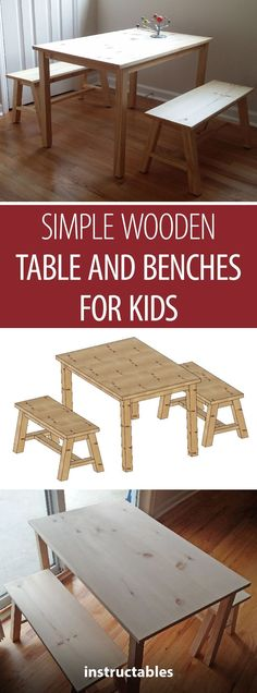 Make a simple wooden table with benches for kids! Make a simple wooden table with benches for kids! Kids Woodworking Projects, Wood Projects For Kids, Wood Projects For Beginners, Diy Furniture Projects, Woodworking Furniture, Diy Woodworking, Kids Furniture, Popular Woodworking, Craft Projects