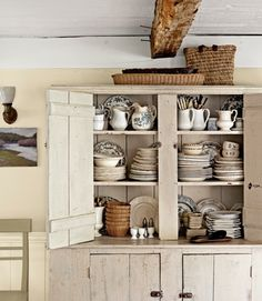 Home Interior Colors Antique pine cupboard - distressed by rubbing coffee grounds into the cracks.Home Interior Colors Antique pine cupboard - distressed by rubbing coffee grounds into the cracks. Pine Cabinets, Kitchen Cabinets Decor, Farmhouse Kitchen Cabinets, Cabinet Decor, Rustic Kitchen, Country Kitchen, Kitchen Storage, Rustic Buffet, Country Cupboard