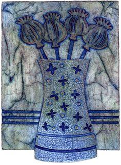 Poppies-in-a-Pot Ann Burnham Painting Collage, Painting Prints, Gelli Printing, Screen Printing, Collagraph Printmaking, Flower Doodles, Botanical Art, Fiber Art, Amazing Art