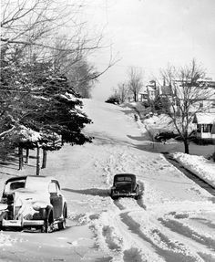 After a January 1942 snowstorm, a few cars were abandoned along 45th Street looking north from Pratt Street. THE WORLD-HERALD