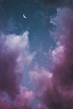 New Nature Wallpaper Iphone Night 63 Ideas Moon And Stars Wallpaper, Iphone Wallpaper Sky, Night Sky Wallpaper, Cloud Wallpaper, Wallpaper Space, Cute Wallpaper Backgrounds, Tumblr Wallpaper, Pretty Wallpapers, Nature Wallpaper