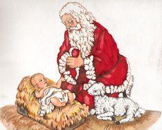 Glass Kneeling Santa With Infant Baby Jesus 3 3 4