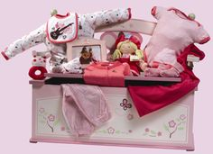 Dream Chest - this is the ultimate baby basket. A chest to be filled with memories, clothes, and toys! Baby Baskets, Gift Baskets, Nutcracker Sweet, Baby Gifts, Memories, Babies, Toys, Clothes, Sympathy Gift Baskets