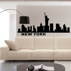 (home office?) New York Skyline Wall Decals Vinyl Stickers NYC by FabWallDecals