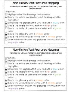 First Grade Fabulosity   Non-Fiction Text Features Mapping •	CCSS.ELA-Literacy.RI.2.5 Know and use various text features (e.g., captions, bold print, subheadings, glossaries, indexes, electronic menus, icons) to locate key facts or information in a text efficiently.