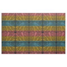 Pink, Gold N Blue Distressed Stripes Fabric