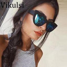fe61cba10e38 Oversized Vintage Sunglasses Women Brand Designer Sexy Cat Eye Sunglasses  Mirror Sun Glasses Female Ladies Shades UV400 Oculos
