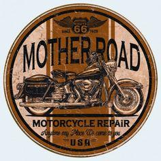 """Plaque publicitaire métal ronde """"Mother Road"""""""