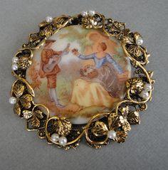 Vintage Fragonard Brooch Pendant HUGE Loving Couple in Love  by EyeCandyAntiques, $49.00